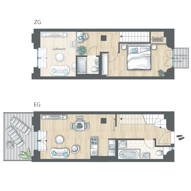 wohnungen jute lofts. Black Bedroom Furniture Sets. Home Design Ideas